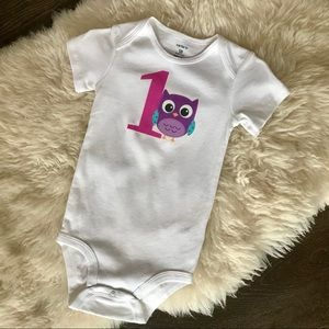 4/$20 First birthday owl onesie shirt